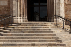 Stone staircase with a handrail Stock Image