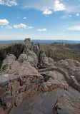 Stone staircase leading down from Harney Peak Fire Lookout Tower in Custer State Park Royalty Free Stock Image