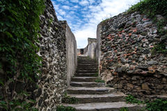 Stone staircase leading to the observation platform to the loopholes, Bolkow Castle Poland.  Stock Image