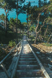 Stone Staircase Leading To Sea, In Morning Sunrise Travel Destination Vacation Concept Royalty Free Stock Photo