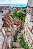 Stone staircase leading to the top of the tower of the Yedikule Royalty Free Stock Photography
