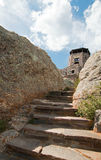 Stone staircase leading up to Harney Peak Fire Lookout Tower in the Custer State Parks Black Elk Wilderness in the Black Hills of Stock Photography