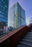 Stone staircase and modern office buildings. In the city center to Poznan Stock Image