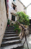 Stone Staircase. With plants in Trogir, Croatia, a medieval city with cobblestone pathways Royalty Free Stock Photography