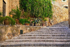 Stone staircase on the street of Fornalutx village Stock Images