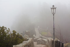 Stone staircase and street lights. Royalty Free Stock Image