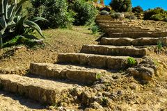 Stone Staircase to Greek Temple of Juno in the Valley of Temples - Agrigento. Sicily, Italy stairs ancient architecture heritage sicilian historic history stock images