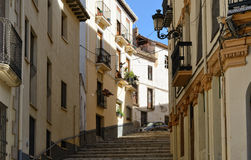Stone stairs in the ancient Spanish town Royalty Free Stock Image
