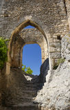 Stone stairs and arches in medieval castle Royalty Free Stock Images