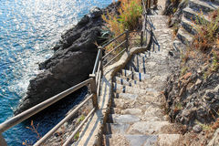 Stone stairs leading down to the sea Stock Photo