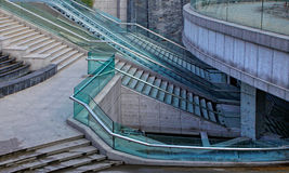 Stone stairs with metal railing Royalty Free Stock Images