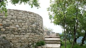 Stone stairs in Montenegro, in Park Milocer, Sveti Stefan. stock video footage