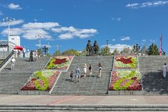 Stone stairs and monument to Tatishchev and de Gennin in Yekaterinburg, Russia Royalty Free Stock Images