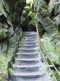 Stone stairs on a mountain trail Stock Photo