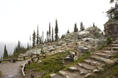 Stone stairs on Mt Revelstoke. Pathway and stairs up to an ice box between harsh Rocks on Mount Revelstoke, Canada Royalty Free Stock Image