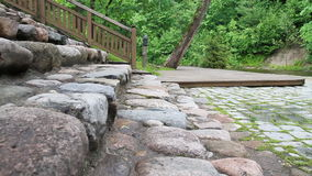 Stone stairs stock video footage