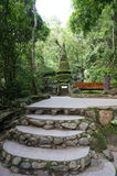 Stone stairs to mossy green pagoda Stock Photography