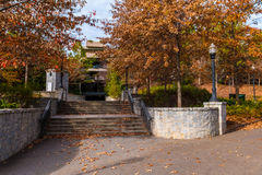 Stone stairs to parking deck in Piedmont Park, Atlanta, USA. The stone stairs to the Welcome Plaza and the parking deck in the Piedmont Park in autumn day Stock Photo