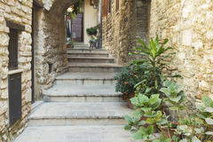 Stone stairs in a town from Tuscany Royalty Free Stock Images