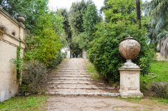 Stone stairs in Villa Doria Pamphili park in Rome royalty free stock photo