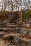 Stone stairs on Wetlands Trail in Piedmont Park, Atlanta, USA. The rough stone stairs and thicket of bare trees on the Wetlands Trail in the Piedmont Park in Stock Image
