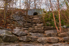 Stone stairs on Wetlands Trail in Piedmont Park, Atlanta, USA Royalty Free Stock Images