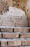 Stone stairway closeup. Closeup of steps of stone stairway of Castellammare del Golfo town, Sicily, Italy Stock Photo