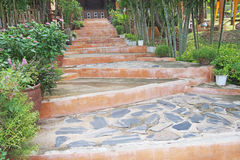 Stone stairway with decorated tree Stock Photo