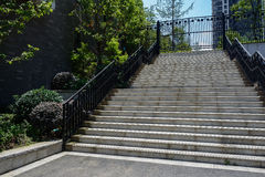 Stone stairway before fenced building Royalty Free Stock Photography