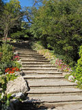 Stone stairway in formal garden Stock Photos