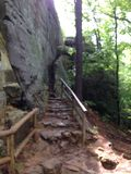 Stone stairway. Hiking and using stone walkway Royalty Free Stock Photography