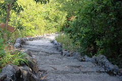 Stone stairways down the hill Royalty Free Stock Photos