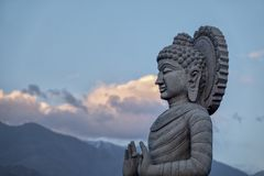 Stone statue of Buddha in Leh, India stock photos