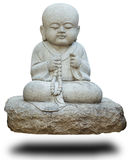Stone statue of buddhist monk on white Royalty Free Stock Photo
