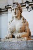 Stone statue, Conegliano Veneto city, Italy. Stone statue in Piazza Cima, in front of the Accademy Theatre, in Conegliano Veneto, Treviso province, in north Royalty Free Stock Photos