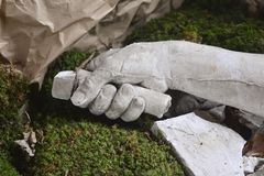 Stone statue detail of human hand. Sculpture Royalty Free Stock Photography