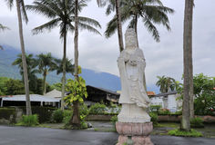 Stone statue of guanyin at the square of guanglong stone carving factory Stock Photos