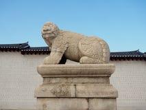 Stone Statue of Haetae Guardian Dog. At Geyongbokgung Palac in Seoul, Korea Royalty Free Stock Photography