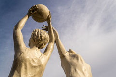 Stone Statue Human Women Netball Players in Action Stock Image