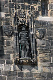 Stone statue John O`Gaunt Gateway Lancaster. Close up of a stone statue in the wall above the John O`Gaunt Gateway that is the main tourist entrance to Lancaster Stock Photo