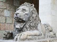 A stone statue of a lion St. Petersburg Stock Images