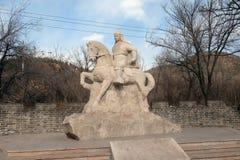 Stone statue of Ming Dynasty general Qi Jiguang, Shuiguan Great Wall, Badaling, China Stock Photos