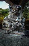 stone statue of nandi in an old ancient temple royalty free stock image