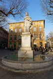 The stone statue representing king Rene. AIX-EN-PROVENCE, FRANCE, April 6, 2018 : At East end of Cours Mirabeau, raises the work of David d`Angers : a stone Stock Photography