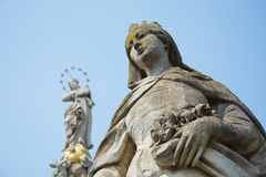 Stone statue of Saint Elizabeth. One of the stone statutes surrounding the Immaculate (plague column) on Main street in Košice (Cassovia). Elizabeth (of Hungary Stock Photography