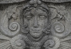 Stone statue of a woman face Royalty Free Stock Photos