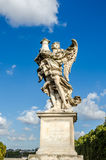 Stone statues of angels and apostles Eliyev on the bridge over the River Tiber leading to Castel Sant'Angelo in Rome, capital of I Royalty Free Stock Images