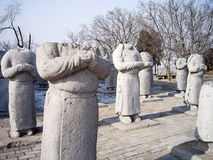 Stone Statues of Foreign Ambassadors without Head along Spirit Way of Qianling Mausoleum, Xian, China. Stone Statues of Foreign Ambassadors without Head along royalty free stock photos