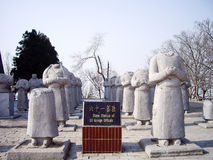 Stone Statues of Foreign Ambassadors without Head along Spirit Way of Qianling Mausoleum, Xian, China. Stone Statues of Foreign Ambassadors without Head along stock images
