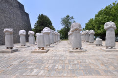 Stone Statues of Foreign Ambassadors. At the Qianling Mausoleum which is a Tang Dynasty (618–907) tomb site located in Qian County, Shanxi province stock photos
